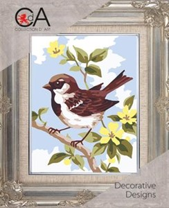 Picture of Collection D'Art Needlepoint Printed Tapestry Canvas 20X25cm-Brown Wren