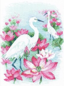 "Picture of RIOLIS Counted Cross Stitch Kit 7""X9.5""-Lotus Field/Herons (14 Count)"