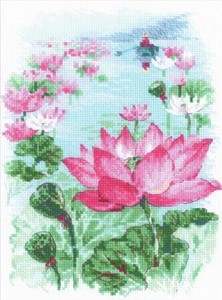 "Picture of RIOLIS Counted Cross Stitch Kit 7""X9.5""-Lotus Field/Fisher (14 Count)"
