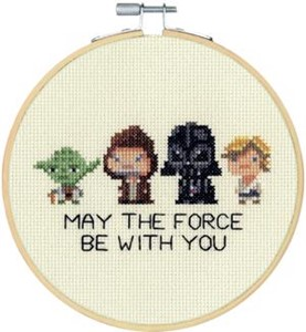 "Picture of Dimensions Star Wars Counted Cross Stitch Kit 6"" Round-Family Hoop (14 Count)"