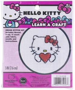 "Picture of Dimensions/Learn-A-Craft Counted Cross Stitch Kit 3"" Round-Hello Kitty Heart (11 Count)"