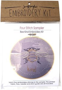 Picture of Jennifer Jangles Four Stitch Sampler Embroidery Kit-Bee Kind